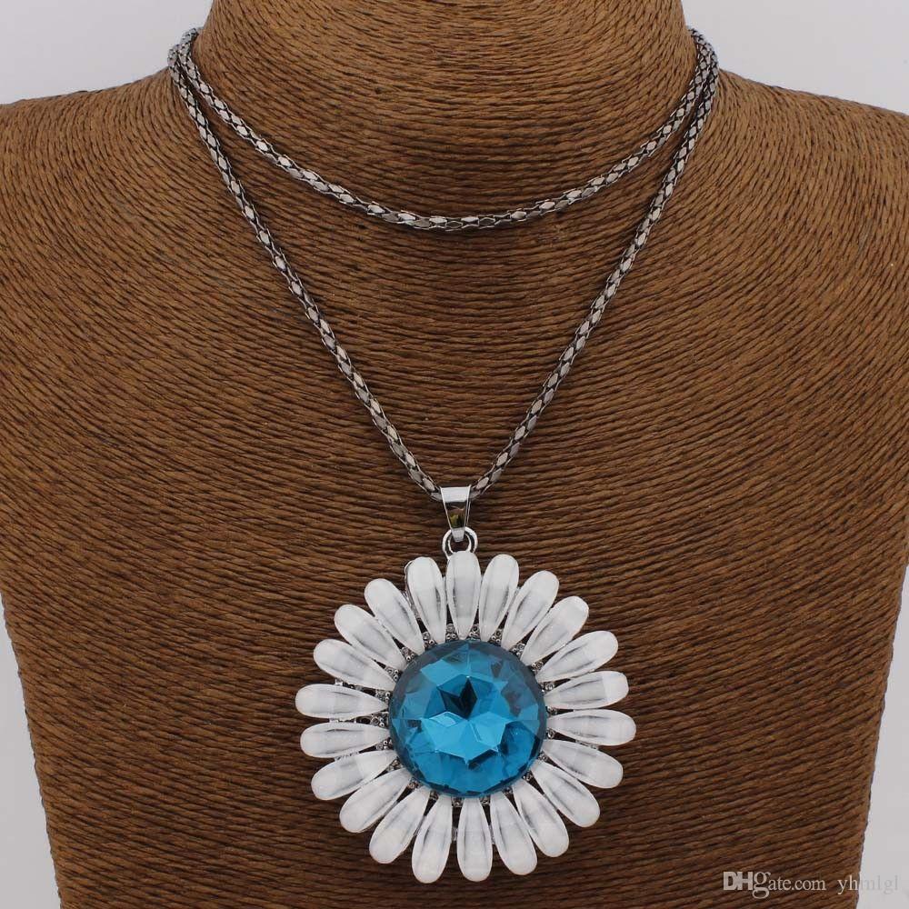Мода Кристалл Акриловые Фиолетовый Круглый Кулон Ожерелье Для Женщин