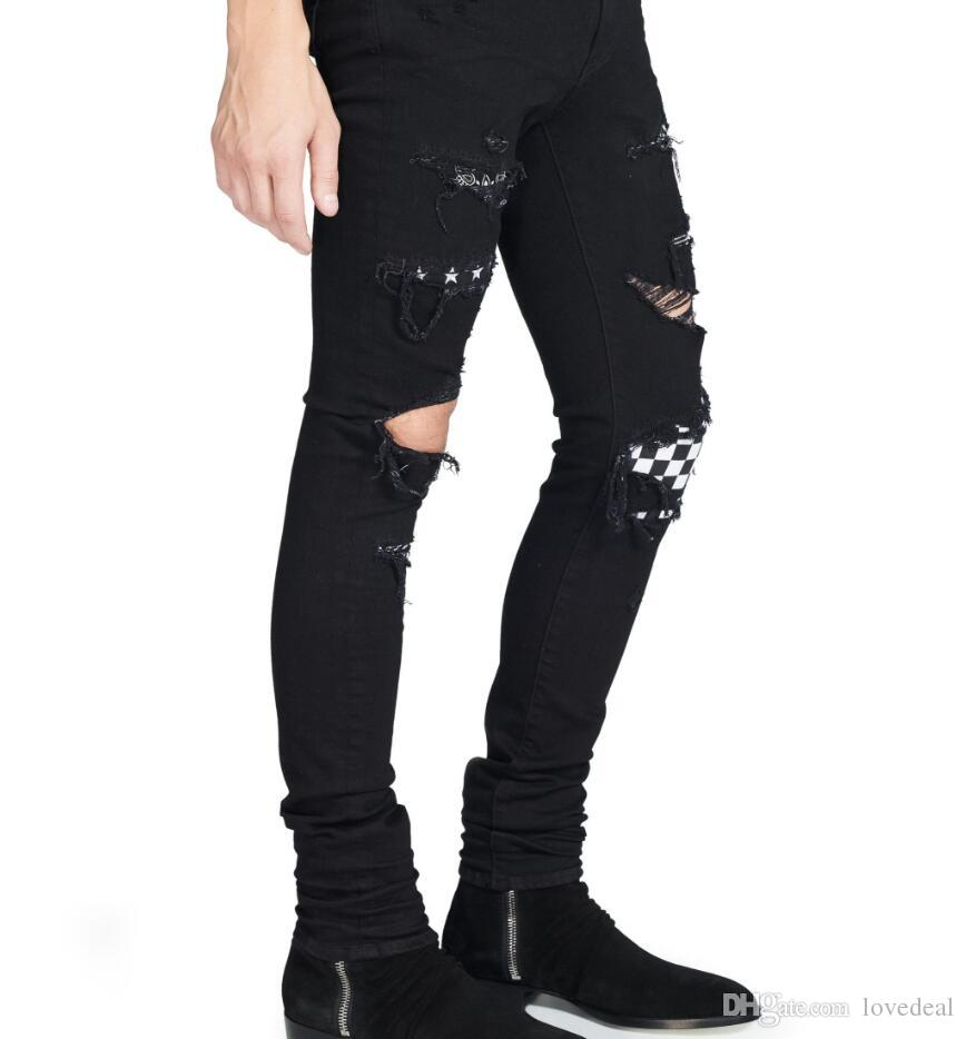 48b5dd66df 2019 Men'S Art Patch Slim Fit Ripped Jeans Men Hi Street Mens Distressed  Denim Joggers Knee Holes Washed Destroyed Jeans Plus Size 28 42 Black/ From  ...