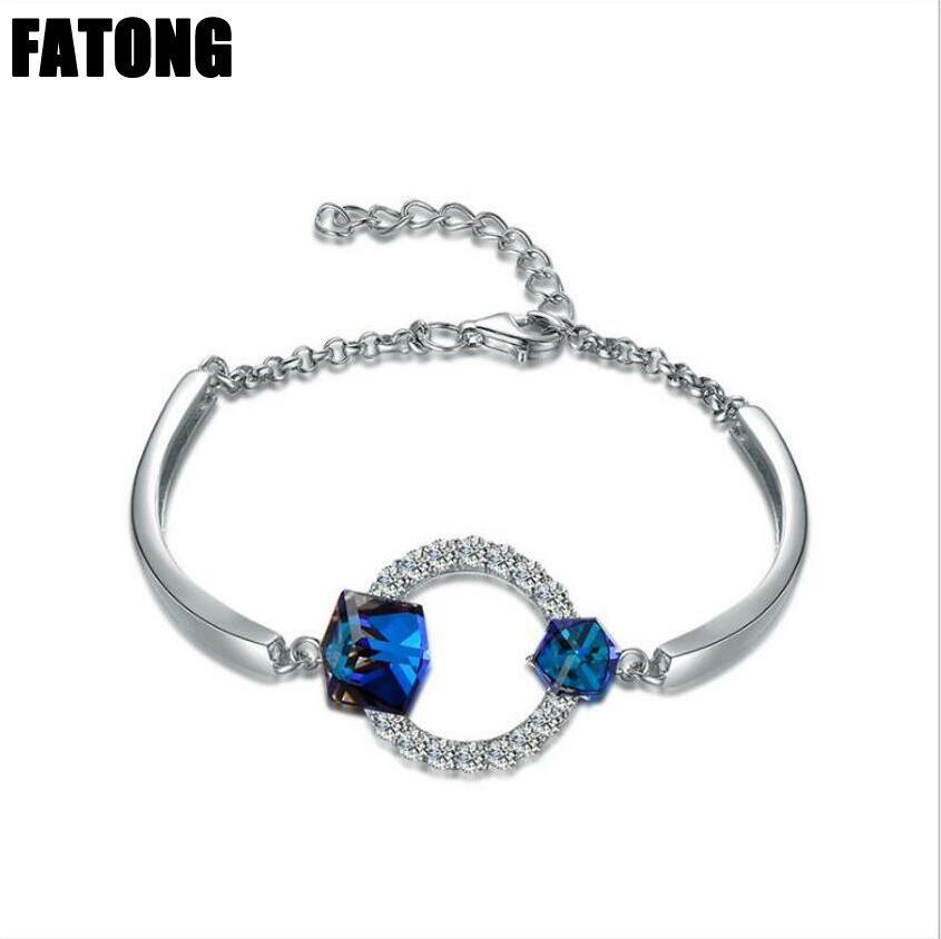 Bracciale in argento sterling 925 con cinturino in cristallo blu naturale a cambiamento naturale moda coreana J0200