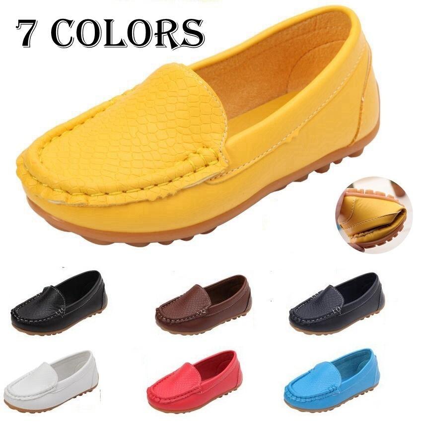 Новый дизайн одежды дети дети искусственная кожа лодка обувь скольжения на случайные квартиры обувь мальчиков и девочек обувь дети малыш