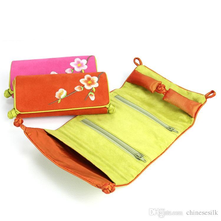 접는 스웨이드 가죽 쥬얼리 여행 롤 가방 고품질 수 놓은 꽃 중국어 매듭 스토리지 파우치 휴대용 여성 메이크업 가방