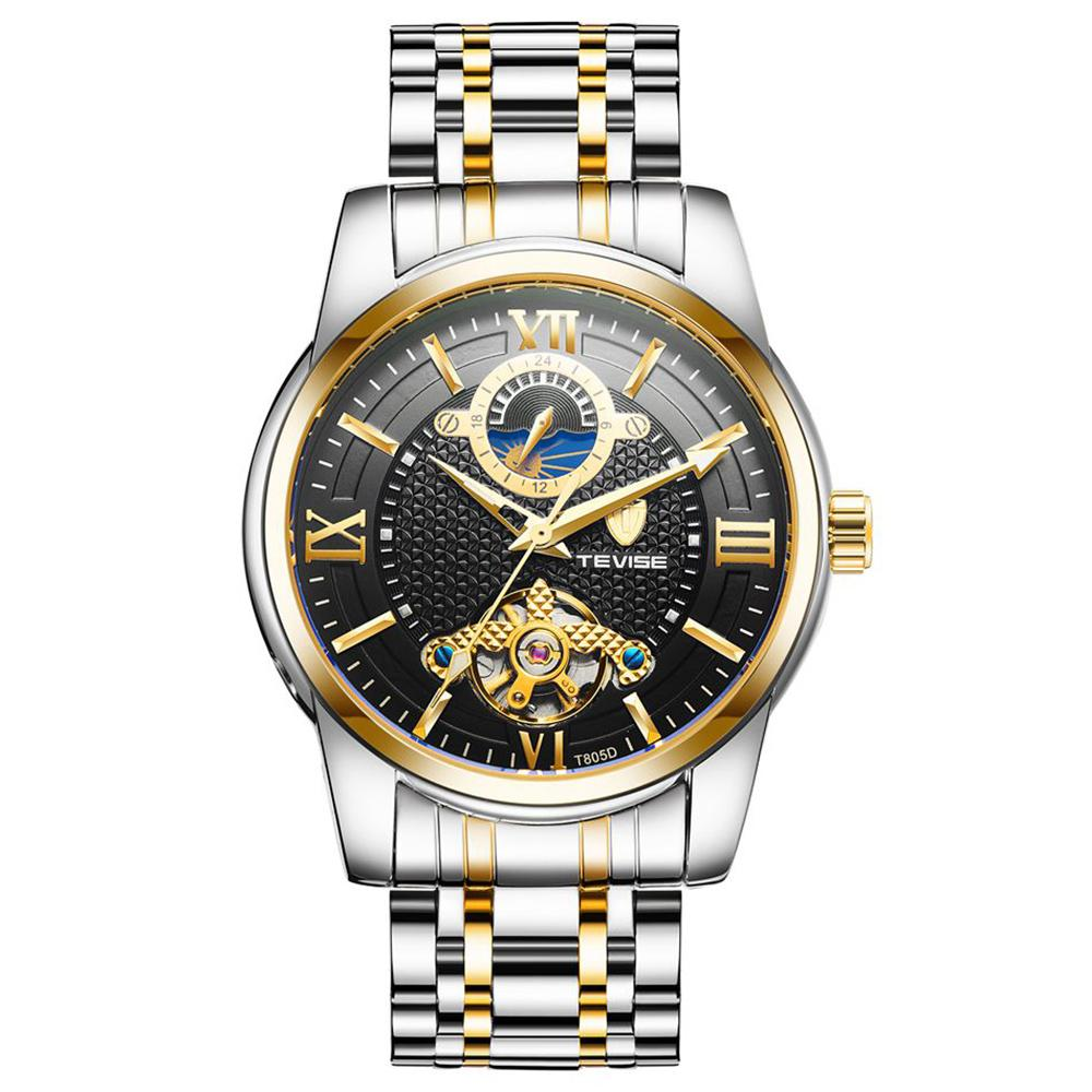 Tevise  Business Watch Men Moon Phase  Stainless Steel Automatic Mechanical Watch 24 Hour Clock