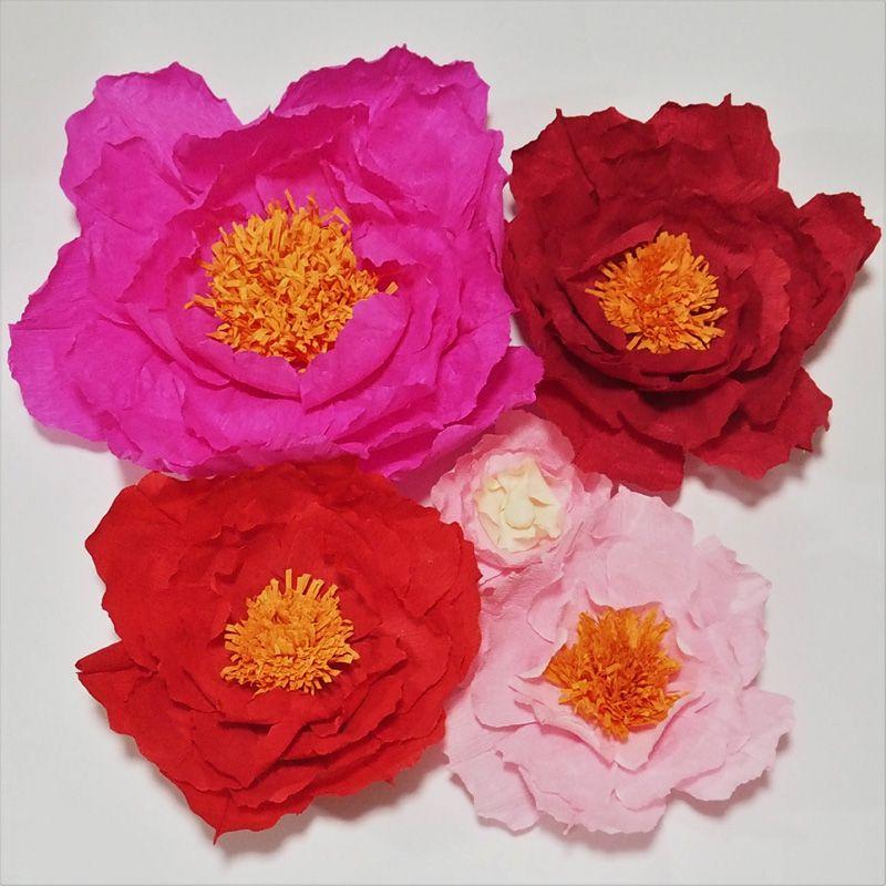 Dev Krep Kağıt Yapay Çiçekler 5 ADET Düğün Arka Planında Dekor Bebek Kreş Windows Ekran El Yapımı El Sanatları Özelleştirilmiş