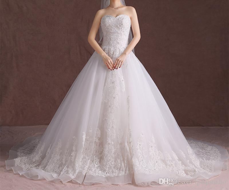 Impresionantes vestidos de novia vestido de bola tren vestido de novia de boda grandes lentejuelas con cordones espalda tul con apliques de encaje vestidos de novia de marfil