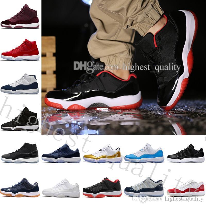Zapatos de baloncesto de alta calidad Gym Midnight Navy 11 Low Barons Zapatos de baloncesto para mujer para hombre Tamaño del envío de la gota US 5.5-13 Eur 36-47