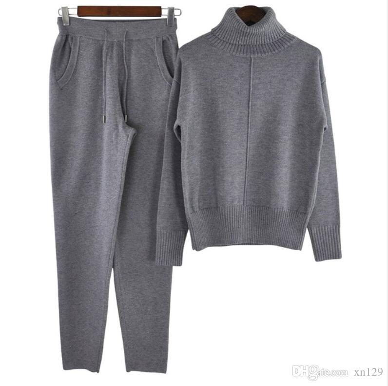 2018 осень зима теплая шерстяные и кашемировые трикотажные костюмы свободные водолазка свитер + широкие ноги кашемировые брюки из двух частей набор вязать