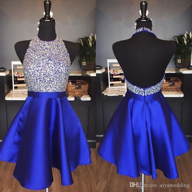 Royal Blue Satin Backless Homecoming Dresses Jewel Halter Sequins Crystal Backless Short Prom Dresses Sparkly Red Party Dresses
