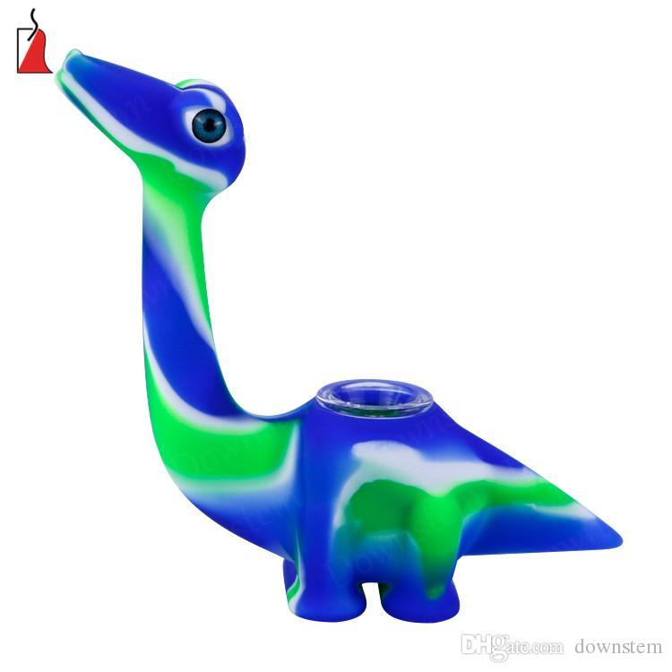 Verre à eau brûleur à mazout bongs silicone pipes tuyau d'eau Creative design Dinosaur barboteur bong avec bol en verre vers le bas la tige