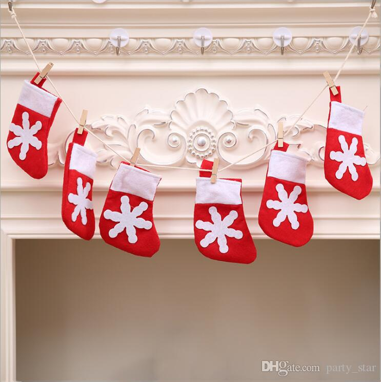 Hot Mini Christmas Socks DIY Flags Decoration Home Christmas Fireplace Flags Props Store Hotel Christmas Tree Decoration