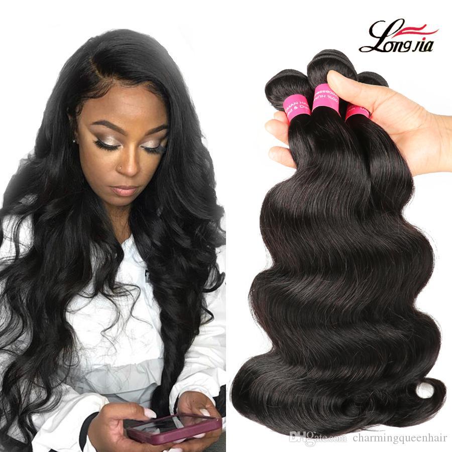 البرازيلي الجسم موجة الشعر 8-28inch 100٪ غير المجهزة الإنسان نسج الشعر 3/4 حزم العذراء الجسم موجة الشعر الطبيعي اللون شحن مجاني