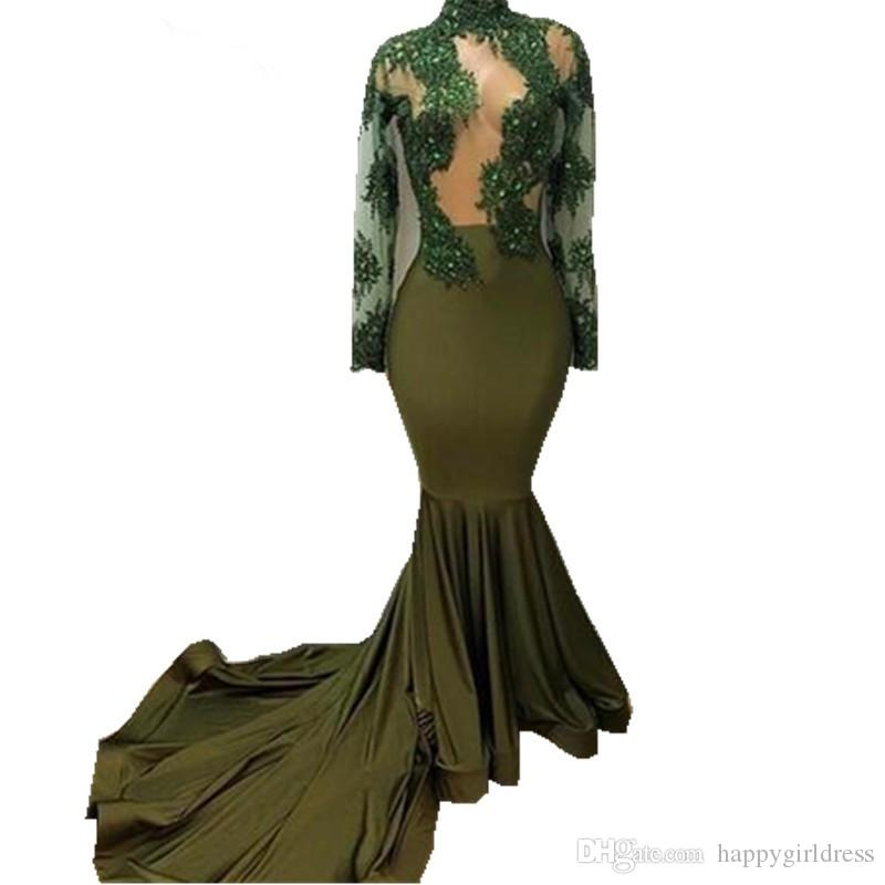 Long Sleeve Mermaid Prom Dresses For African Black Girls 2017 Sexy High Neck Lace Chapel Train Beautiful See Through Party Gowns