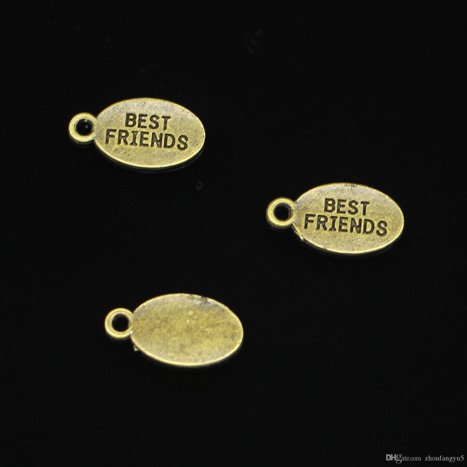 120 adet Çinko Alaşım Charms Antik Bronz Kaplama tabaklar best friends Charms Takı Yapımı için DIY El Yapımı Kolye 19 * 10mm