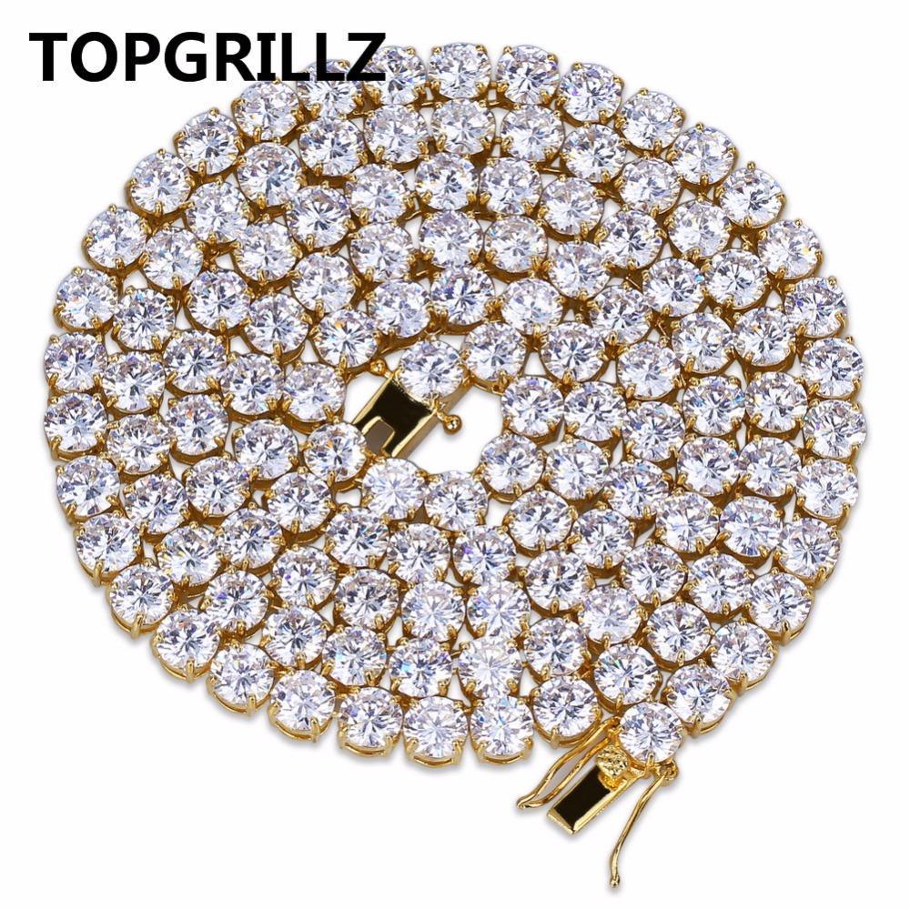 """بيع كامل TOPGRILLZ الهيب هوب كل مثلج خارج قلادة 1 صف مايكرو تمهيد تشيكوسلوفاكيا الأحجار سلسلة التنس القلائد للرجال النساء 20 """"، 24"""" ، 30 """""""