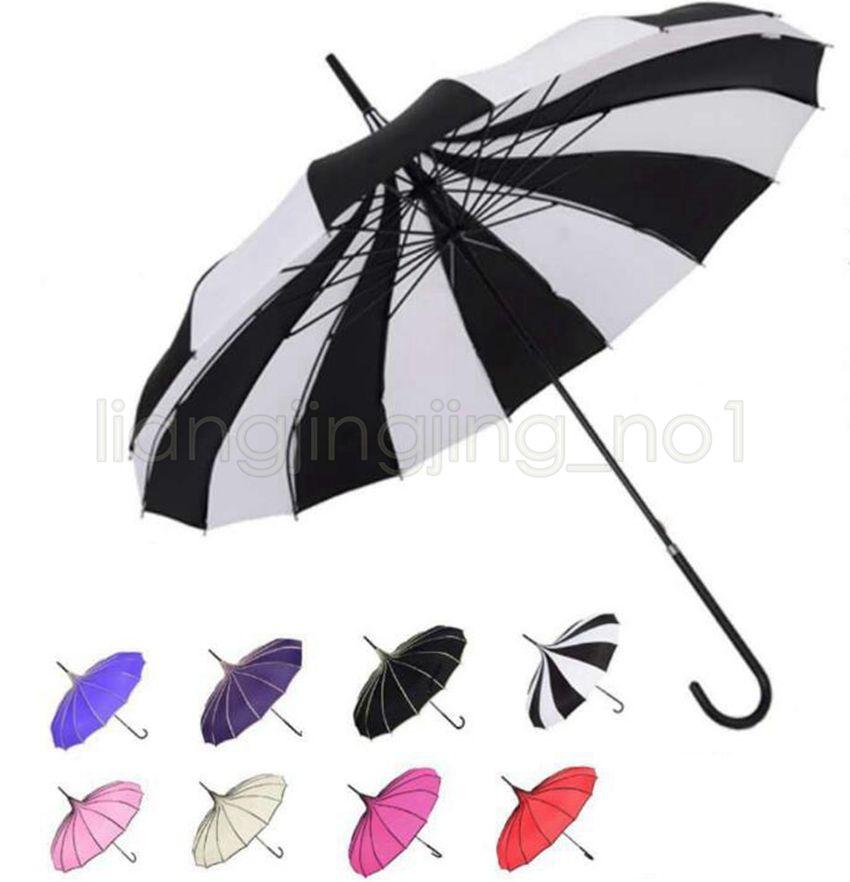 Guarda-chuva Listras Preto E Branco Longo Lidar Com Bumbershoot Pagode Criativo Fresco Fotografia Guarda-chuvas Haste Direita Bent Handle GGA497 10PCS