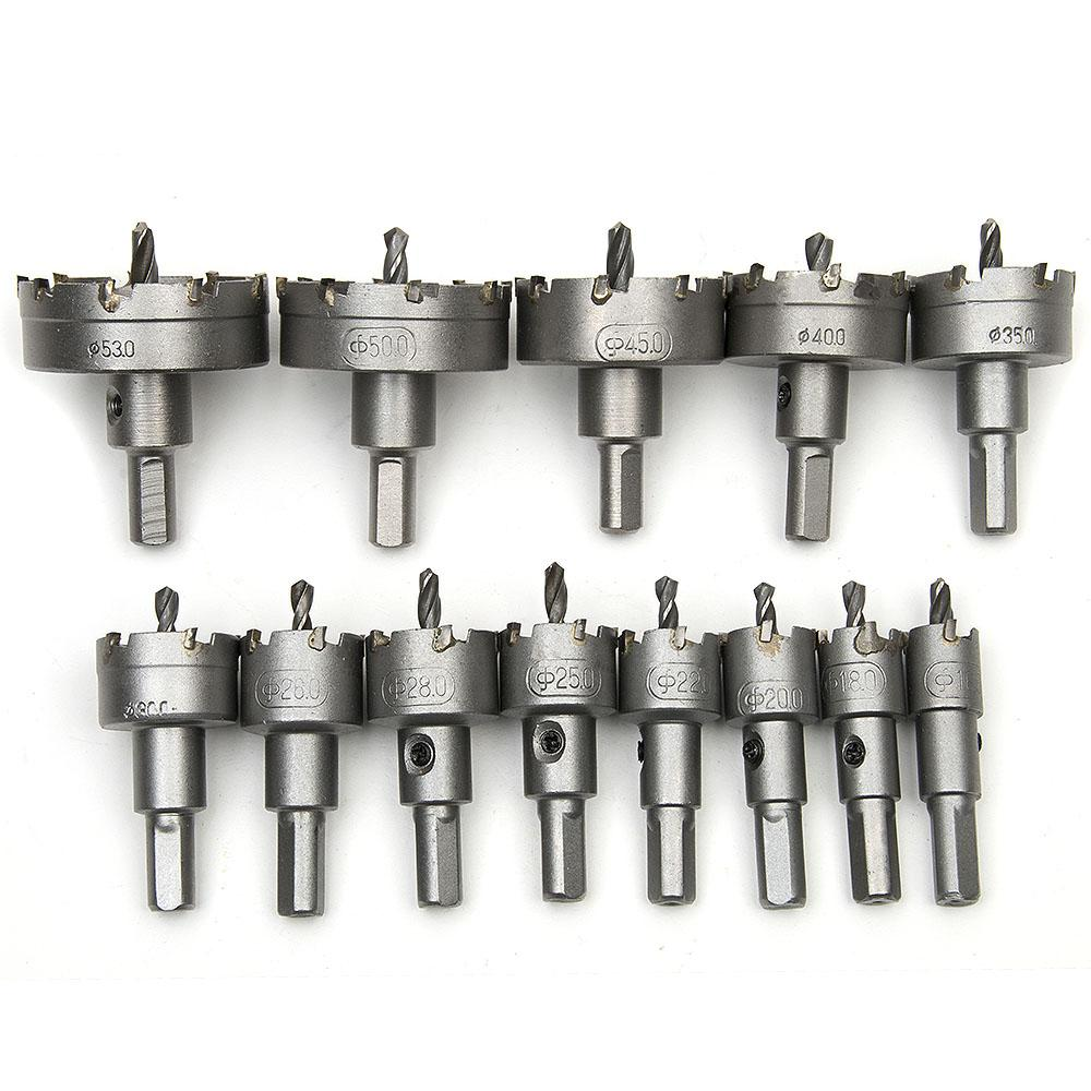 13Pcs 16mm-53mm Core Drill Bit Metal Hole Saw High Speed Steel Core Special for HSS Stainless Steel