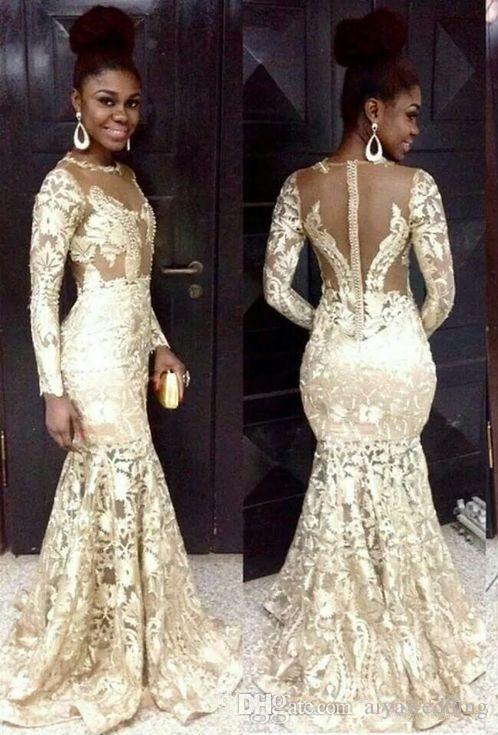 Kadın Plus Size Biçimsel Parti Elbise için Modest 2020 Güney Afrika Stil Gelinlik Modelleri Dantel Şeffaf Yaka Uzun Kollu Mermaid Abiye