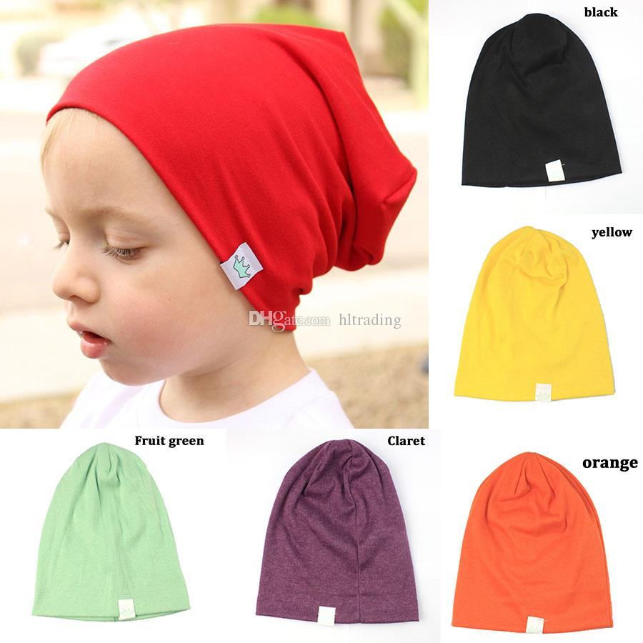 Newest INS baby kids Candy colors Crown hats boys girls Leisure caps children Autumn Winter warm Beanie cap headging hat 13 colors C5250