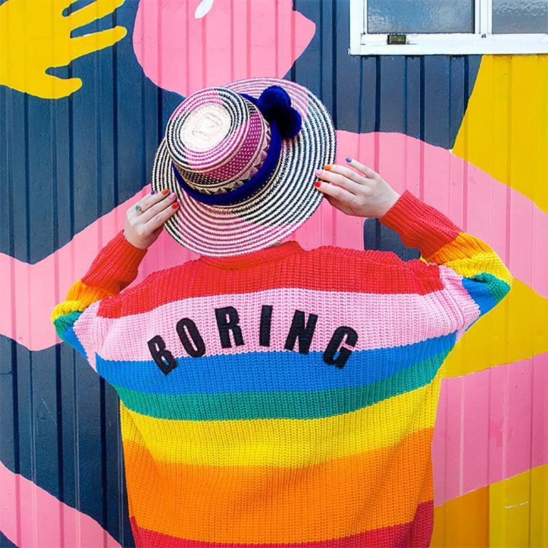 Lazy Oaf Rainbow Cardigan 2018 Outono e Inverno Mulheres Listrado Colorido Camisola Suéter Bordado Carta FATO Casaco Jaqueta