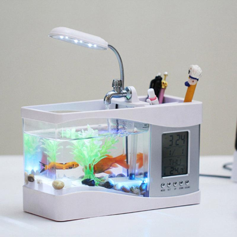 Réservoir de poisson Yakli multifonctions / aquarium Mini USB Mini Tank Miniature écologique Tempérons de tortue de poisson rouge