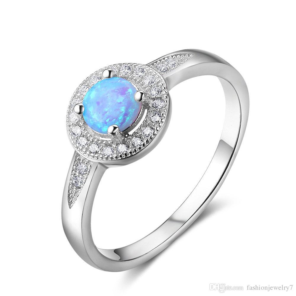 Design de moda Big Rodada Azul Opal Pedras Gema 925 Sterling Silver Ring High-End Jóias Para Lady Meninas Dia dos Namorados Presentes Presentes