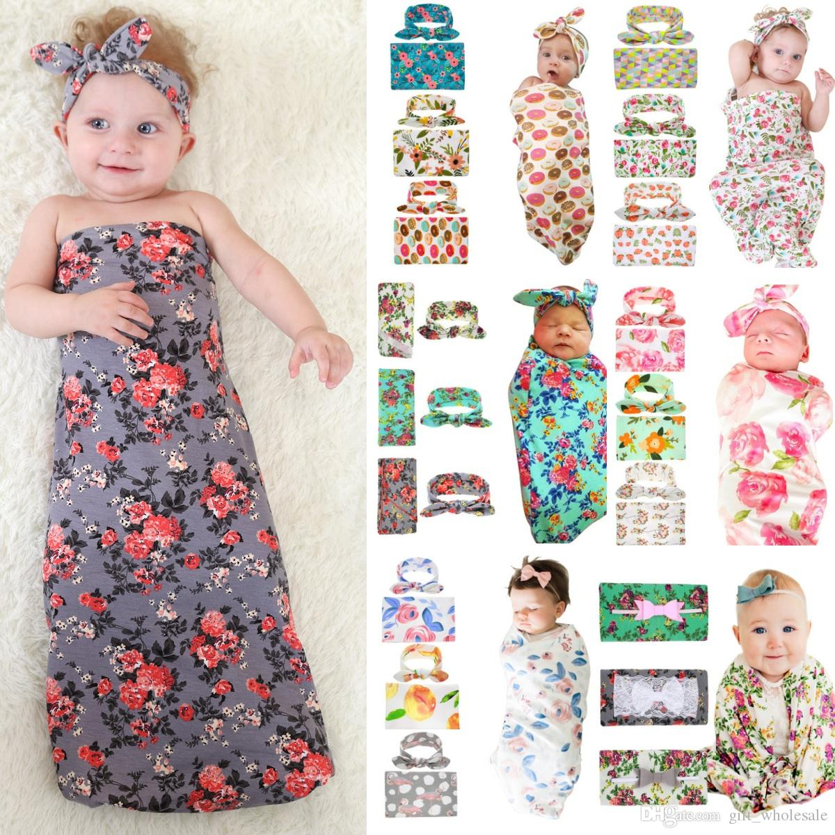 18 Colors Infant Baby Swaddle Sack Baby Girl Rose Flower Blanket Newborn Baby Soft Sleep Sack With Matching Knot Headband Two Piece Set