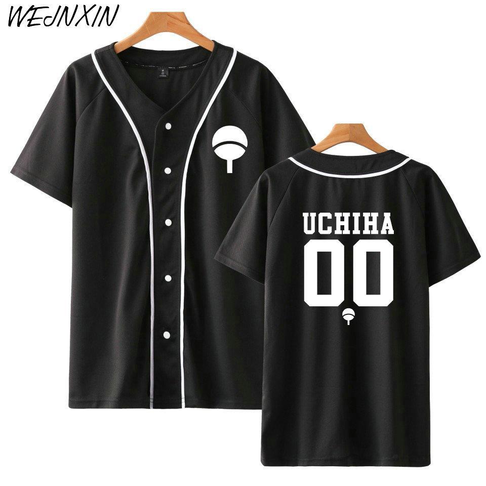 Yeni Anime Tasarım Naruto Beyzbol Gömlek Kısa Kollu Beyzbol Ceket Uchiha Hatake Uzumaki Klan Rozeti Baskı Gömlek Unisex Giysileri