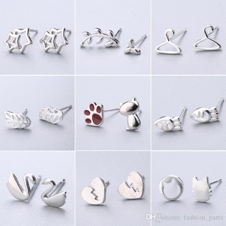 Модные детали Mix 153 стиль 30 пар много ювелирных изделий высокого качества S925 стерлингового серебра серьги серьги Модные подарки большие серьги