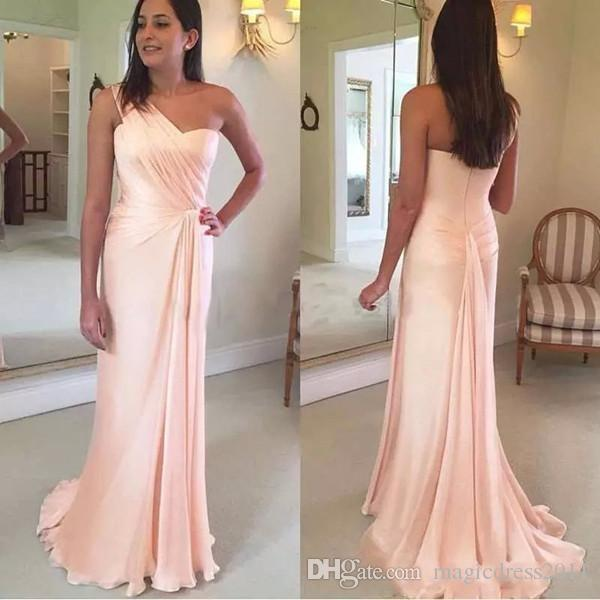 2019 Eleganckie Druhna Dresses Linia Jedno ramię Długość podłogi Szyfonowe Suknie Druhna Dla Plaży Garden Suknie Ślubne Gościnne