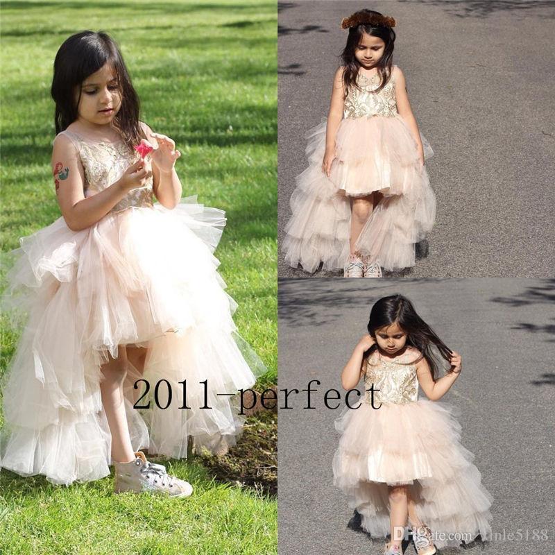 Lüks Boncuklu Çiçek Kız Elbise Tül Hi Lo Resmi Elbise Komünyonu Balo Yarışması