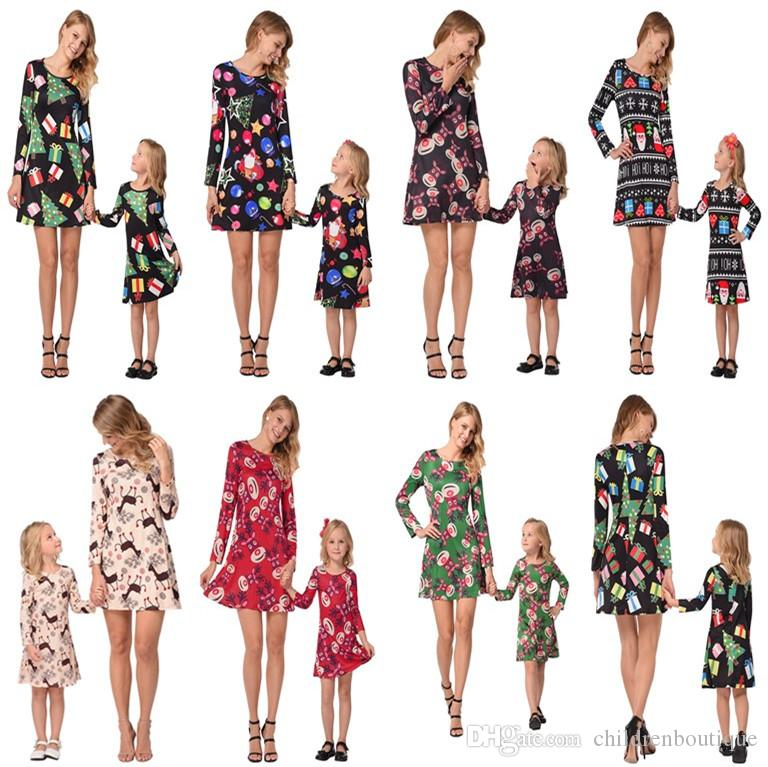 Mommy And Me Family Matching Clothes Mother And Daughter Matching Dresses Christmas Deer Printed Dress Family Look Children Clothes Outfits