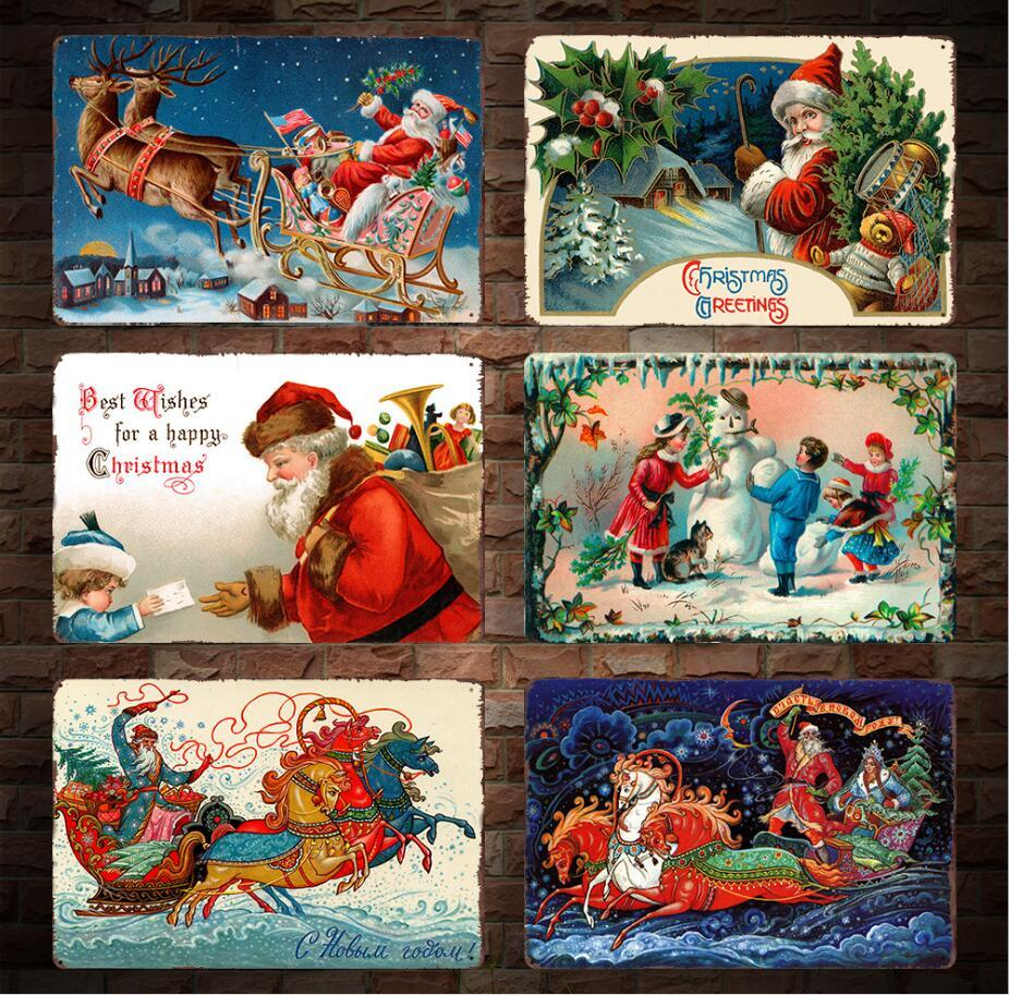 Retro Christmas.2019 20 30cm Christmas Vintage Retro Metal Sign Poster Santa Claus Xmas Plaque Club Canteen Wall Home Art Metal Painting Wall Decor Ffa973 From