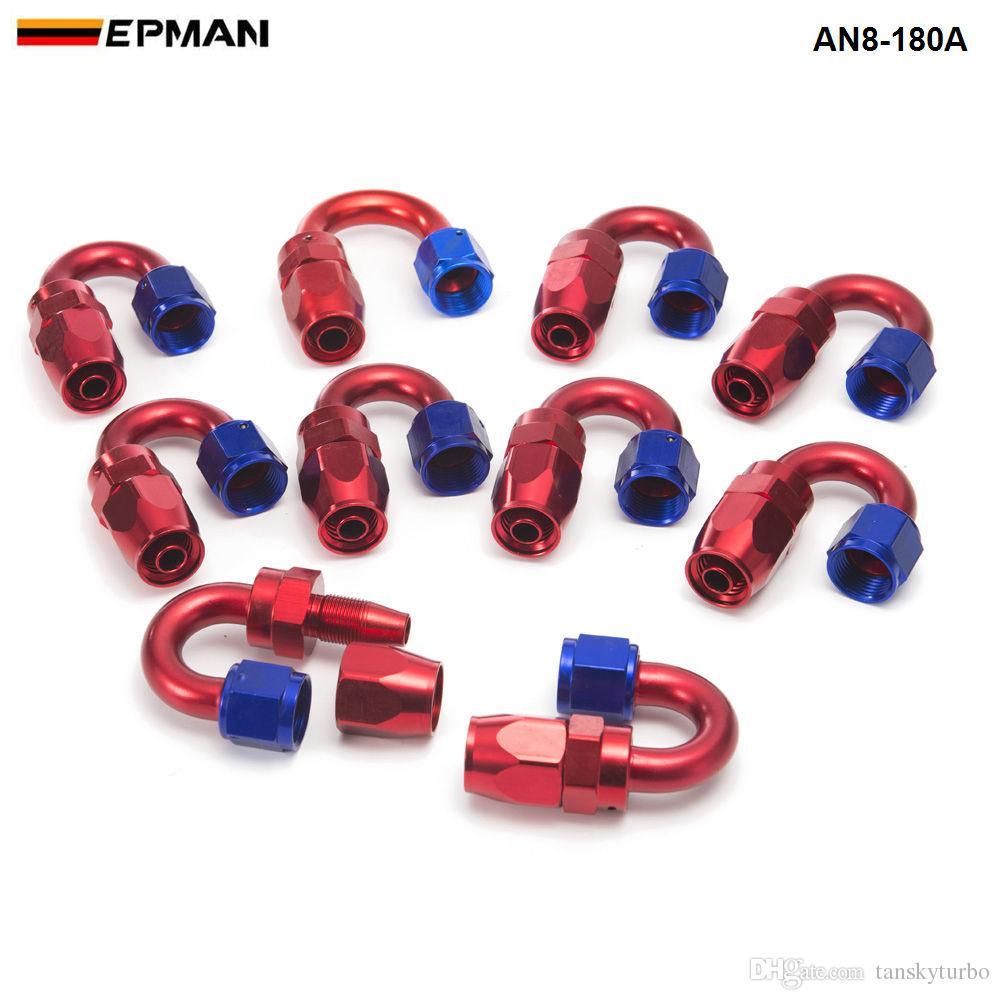 EPMAN -10pcs / lot 유니버셜 AN8 8-AN 180도 알루미늄 오일 / 연료 라인 호스 엔드 피팅 AN8-180A