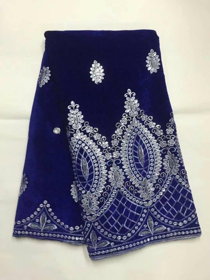 Venda quente Royal Azul Francês Velvete Material Material Africano Macio Veludo Tecido De Laço com Lantejoulas De Ouro Para Roupas JV5-2.5yards / Pc