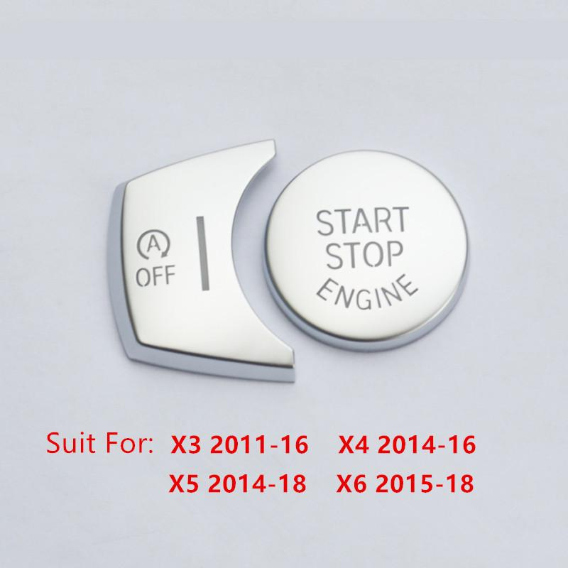 Chrome ABS Car Engine Start Stop Buttons Sequins Cover Trim 2pcs For BMW X3 F25 X4 F26 X5 F15 X6 F16 Interior Accessories
