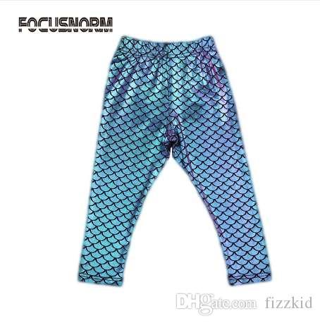 девушки моделирование русалка милые брюки леггинсы красочная цифровая печать летний стиль детские леггинсы