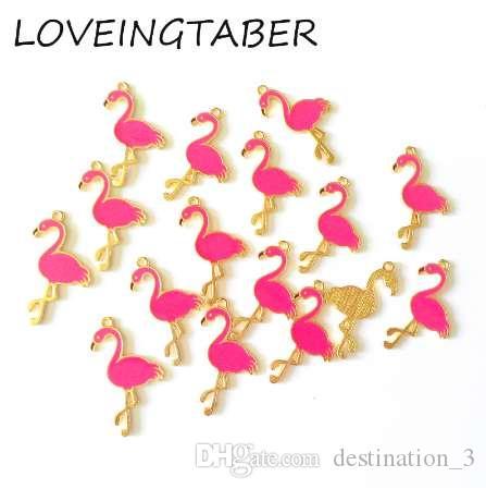 (Сначала выберите цвет) 32 мм*18 мм 30 шт. / лот золотой цвет все эмаль фламинго небольшой Шарм подвески для изготовления DIY аксессуары