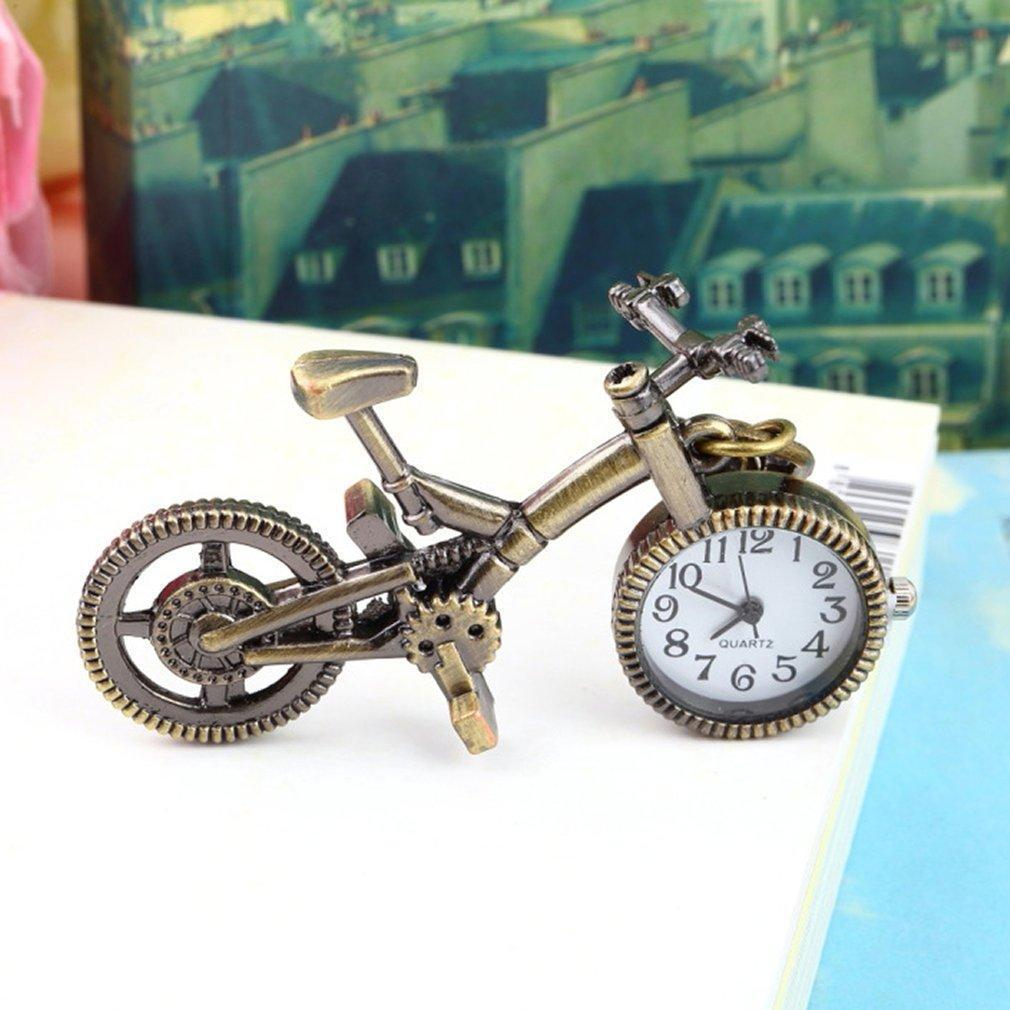 Reloj de moda nuevo Unisex Retro aleación de bronce reloj de bolsillo de bicicleta llavero mujeres hombres relojes