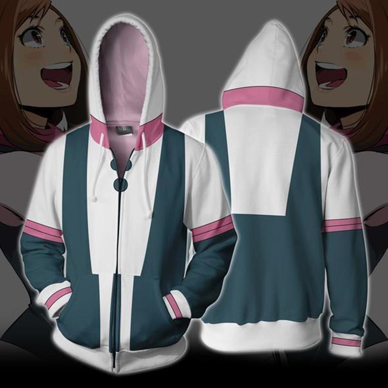 Tamaño asiático Japón Anime My Hero Boku No Hero Academia Ochaco Uraraka manga larga traje de cosplay Baseball Coat sudadera con capucha unisex
