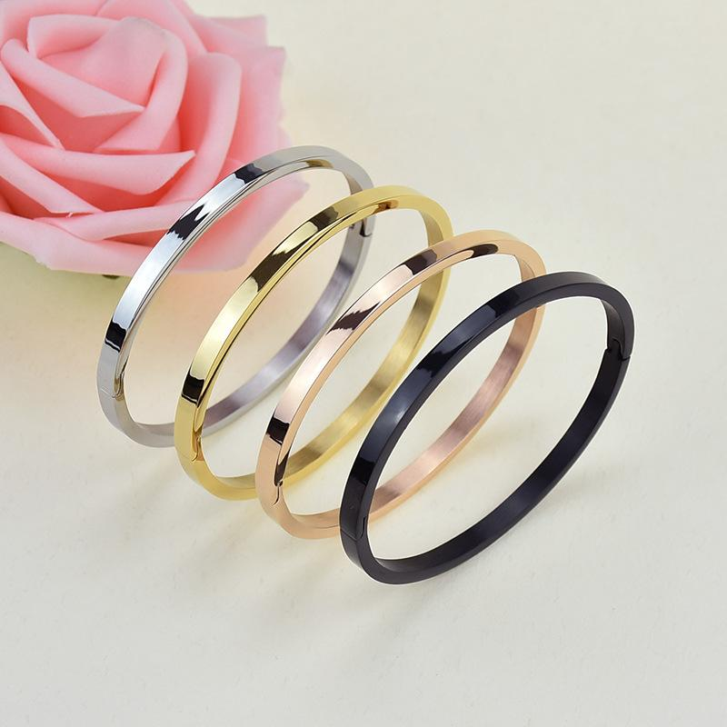 Classic fashion lovers smooth bracelet 18k rose gold colorless titanium steel bracelet stainless steel jewelry