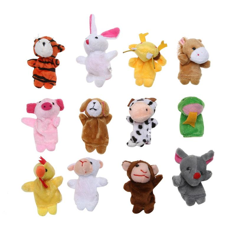 12pcs/Set Cartoon Biological Animals Finger Puppets Chinese Zodiac Plush Toys Lovely Baby Pretend Toys Birthday Xmas Gift free shipping