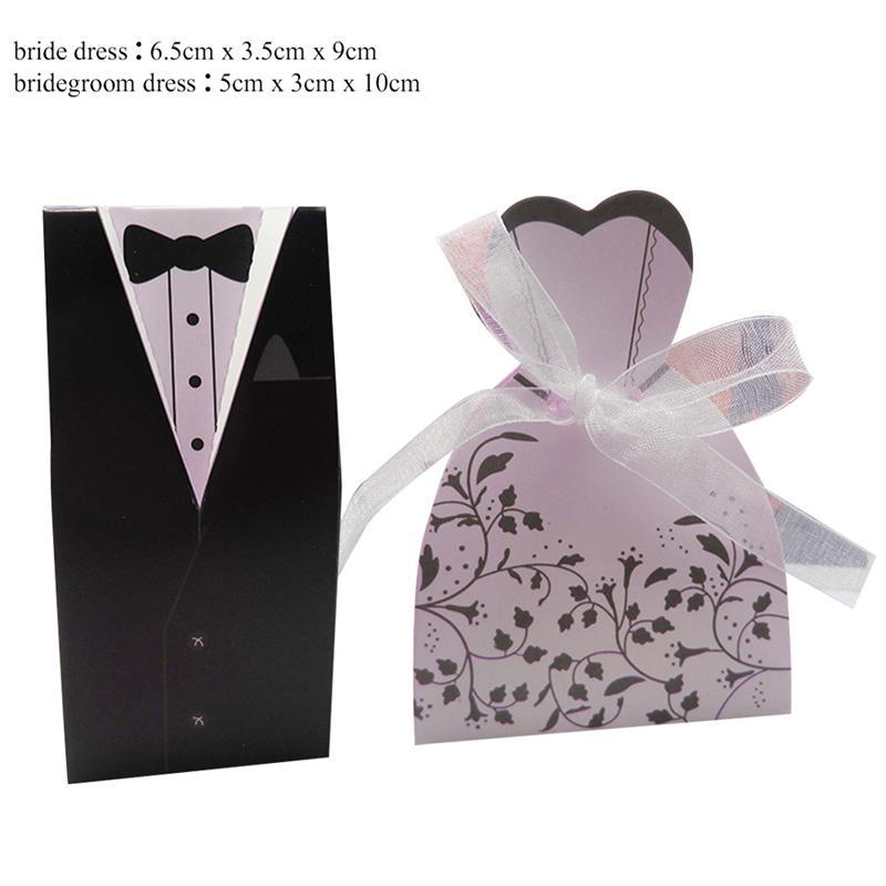 25 Sets Tuxedo Dress Bride Groom Wedding Candy Boxes Wedding Party Favors Wedding Gifts Boxes Box With Ribbon Packaging Supplies