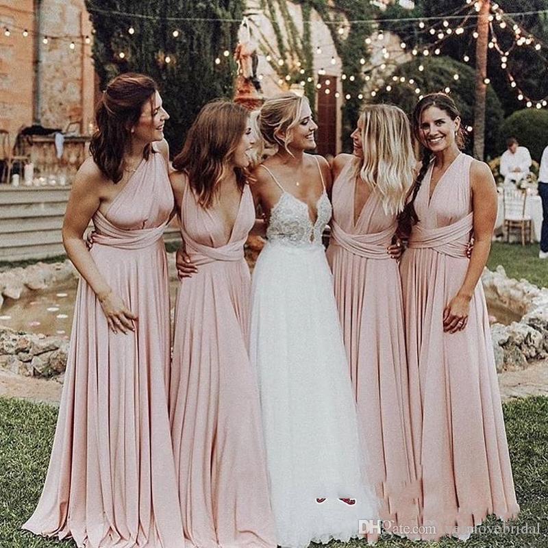 2018 Zarif V Yaka Kolsuz Şifon Gelinlik Modelleri Dantelli Fermuar Geri A-Line Kat Uzunluk Hizmetçi Onur Elbise Düğün Konuk Elbise