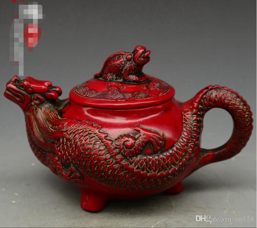 Antique Miscellaneous Qing Emperor Qianlong Red Coral Carving Dragon Shaped Pot Home Decoration Vintage Collection