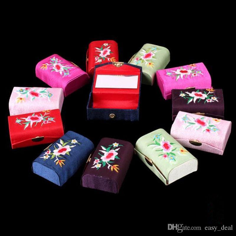 Espejo de seda Brocade Craft Box Travel Jewelry Case Vacío Doble Lápiz Labial Cajas de almacenamiento Maquillaje Organizador F20173454