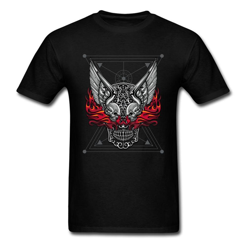 Creative Tattoo Motif Skull2 Design Short Sleeve Tshirt Fall Crewneck 100% Cotton T Shirt for Men Tee Shirts Normal