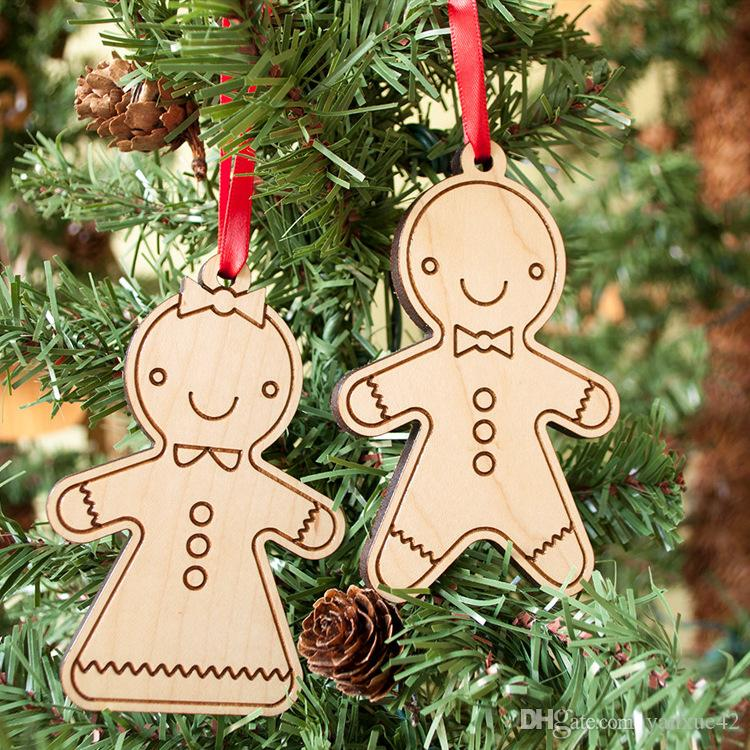Christmas children's toys wooden human Christmas tree hanging toys gifts