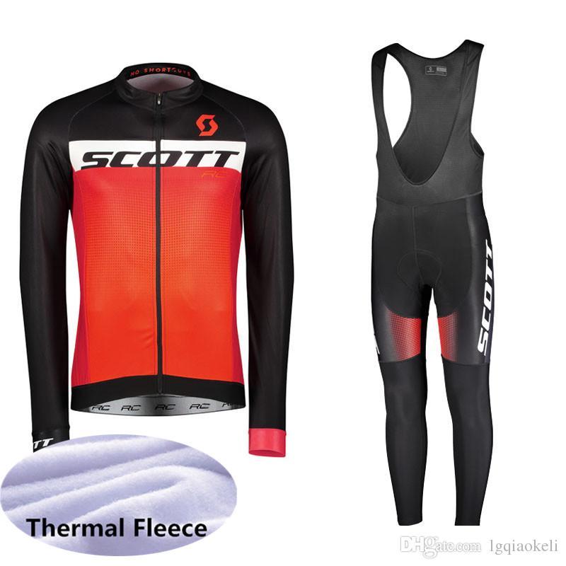 2019 SCOTT Kış Termal Polar Bisiklet Uzun Kollu Jersey Bisiklet Yarışı MTB Maillot Bisiklet Önlüğü Uzun Pantolon Set Ropa Ciclismo K111233