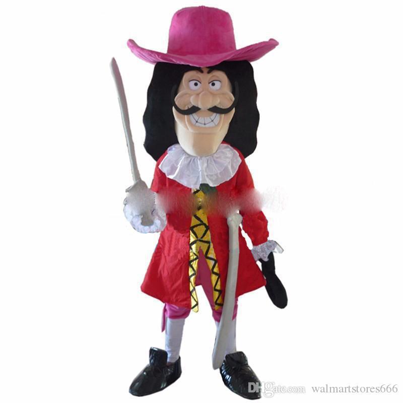2018 Hot sale Vikings Pirate Captain Hook Mascot Costume Fancy Dress Adult Free Shipping