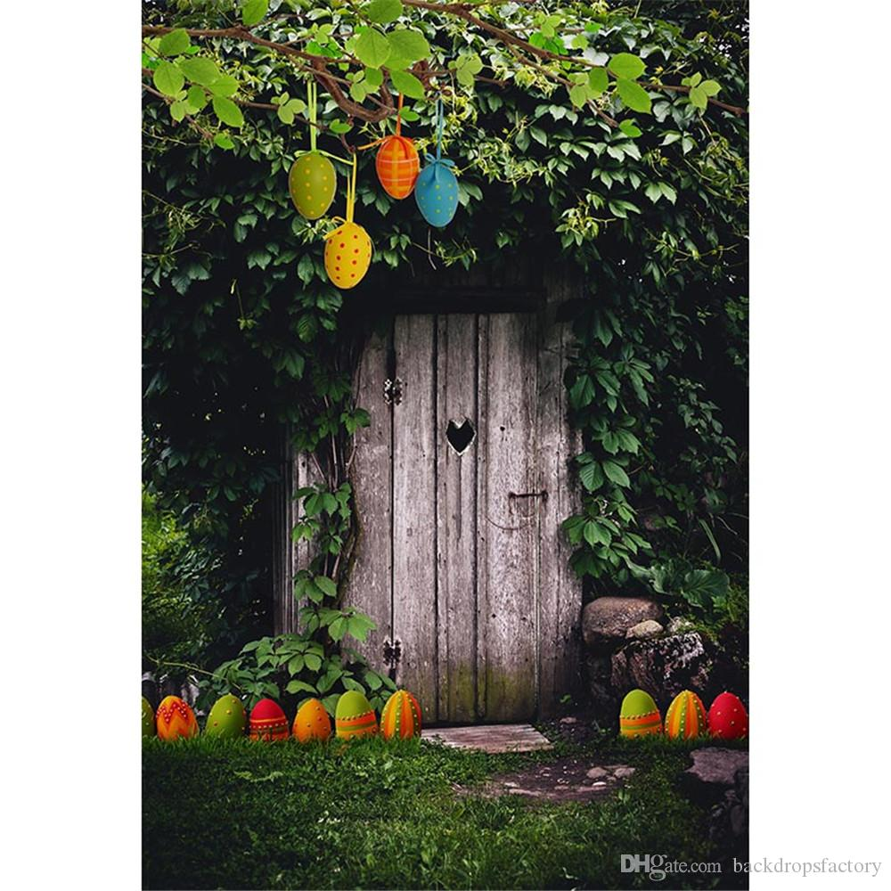 Mysterious Forest Vintage Wooden Door Easter Eggs photography backdrops Vinyl Printed Tree Leaves Spring Nature Scenic Kids Photo Background