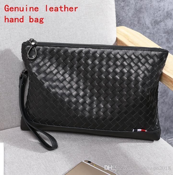 Factory brand men handbag hand woven leather business hand bag wax coated layer cowhide men casual hand bag fashion real leather wallet bag